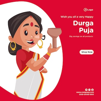Banner design of wishing you all very happy durga puja