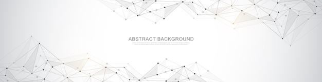 抽象的な幾何学的な背景と点と線を結ぶバナーデザイン。グローバルネットワーク接続。神経叢の背景とテキスト用のスペースを備えたデジタルテクノロジー。