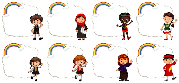 Banner design with children and rainbow