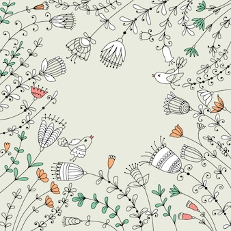 Дизайн баннера с цветами, птицами и местом для текста