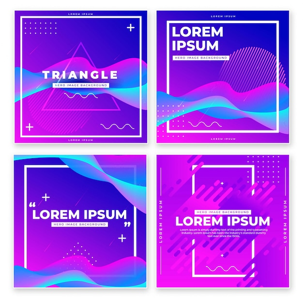 Banner design with geometric elements set.