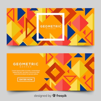 Banner design with geometric shapes
