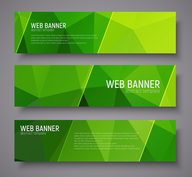Banner design with green abstract polygonal background, transparent diagonal dies and text. set