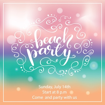 Banner design with lettering beach party. vector illustration.