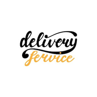 Banner design with lettering delivery service. vector illustration.