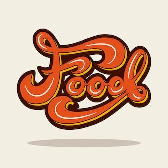 Banner design with lettering food. vector illustration.