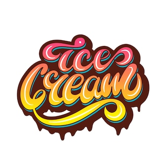 Banner design with lettering ice cream. vector illustration.