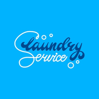 Banner design with lettering laundry service. vector illustration.