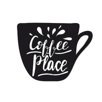 글자가있는 배너 디자인 커피 장소를 만드십시오. 벡터 일러스트입니다.