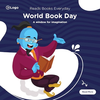 Banner design of world book day template