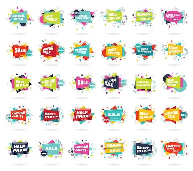Баннерные скидки, рекламные и промо-баннеры в плоском стиле