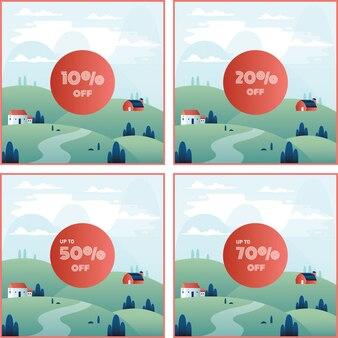 Баннерная скидка в процентах с красивым фоном горных пейзажей