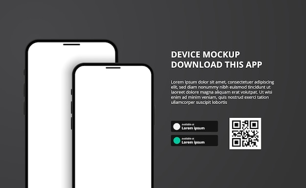 Banner for downloading app for mobile phone, 3d double smartphone device.