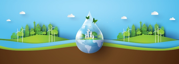 Banner of ecology  and environment with green city. paper art and digital craft style.