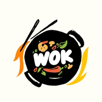 Banner or emblem wok and chopsticks with chinese food and fire top view. fried asian meals cooking concept with ingredients on pan. label for china house or restaurant menu design. vector illustration