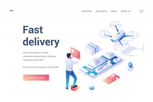 Banner for fast delivery service website