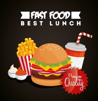 Banner of fast food with hamburger and premium quality