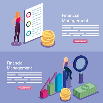 Banner of financial management with people