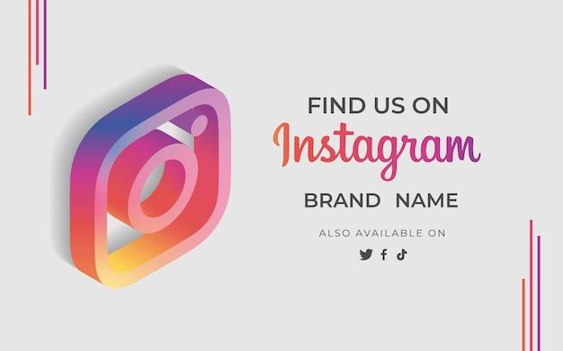 Баннер найди нас instagram со значком
