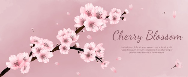 Banner flowers cherry blossoms watercolor ,spring , summer with pink background