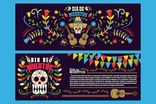 Баннер флаер день мертвых в мексике, шаблон праздничной вечеринки dia de los muertos