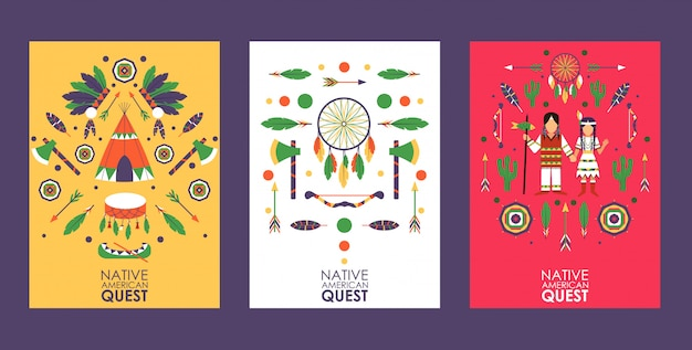 Banner or flyer with symbols of native american culture, quest game invitation, party in american indian style,