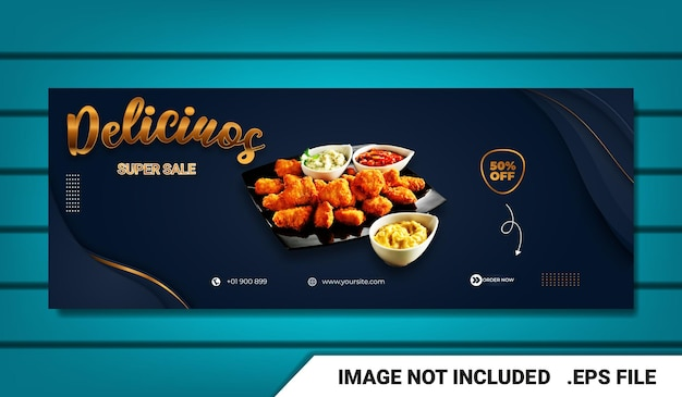 Banner food menu facebook cover template with text effect editable