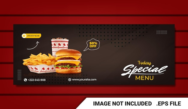 Banner food menu and restaurant facebook cover template