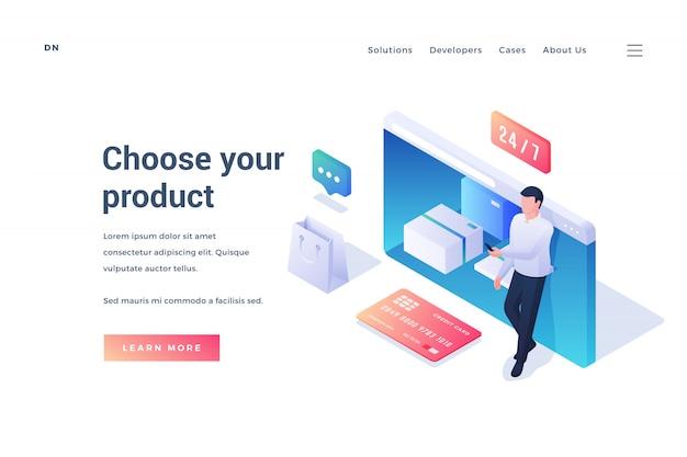 Баннер для сайта современного интернет магазина Premium векторы