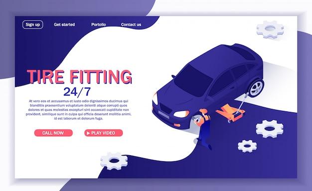 타이어 피팅을 제공하는 온라인 자동차 서비스 배너 프리미엄 벡터