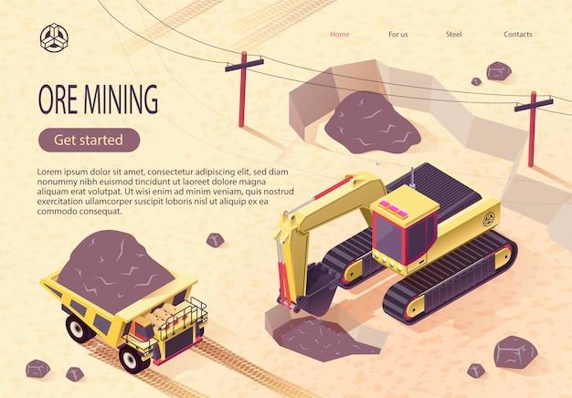 採掘機械による鉱石採掘のためのバナー