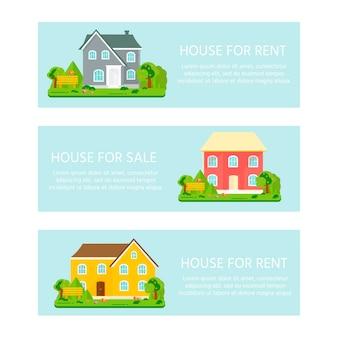 販売、広告の家、木のあるコテージのバナー。住宅購入の申し出。不動産の賃貸。