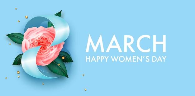 Баннер на международный женский день с красивым цветочным декором
