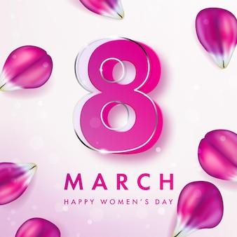 Баннер к международному женскому дню с декором из лепестков розового тюльпана
