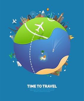 추상 지구 행성과 유명한 평평한 랜드마크가 있는 여행 및 관광용 배너