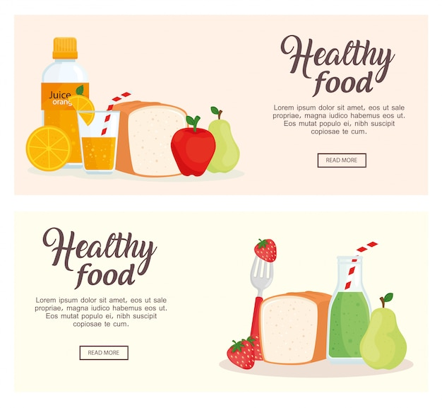 Banner of fruits and healthy food vector illustration design Premium Vector