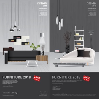 Banner furniture sale design template illustration