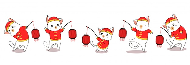Banner greeting adorable cat characters in chinese new year