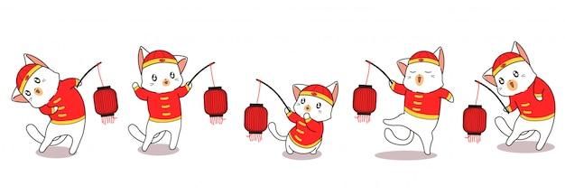 中国の旧正月で愛らしい猫のキャラクターを挨拶バナー
