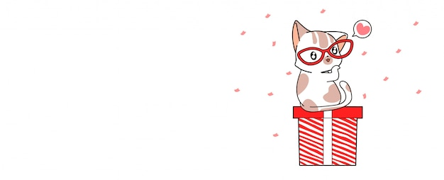 Banner greeting cute cat and gift box for happy day