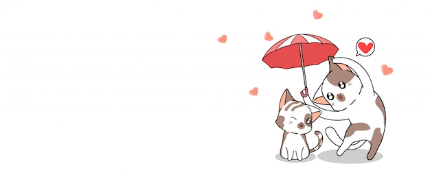Banner greeting kawaii cat is umbrella for protect the other cat with love