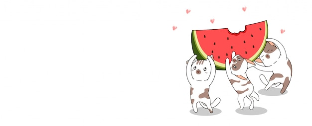 Banner greeting kawaii cats are lifting big watermelon