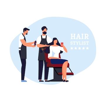 Banner hair stylist celebrity service in barbershop.