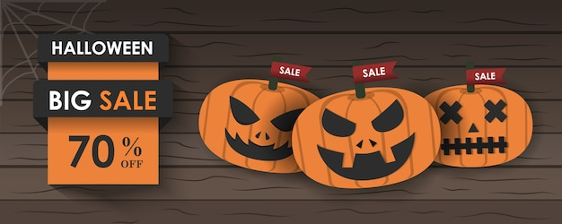Banner for halloween or background and poster vector illustration