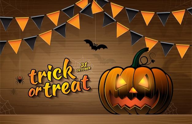 Banner halloween party trick or treat pumpkins