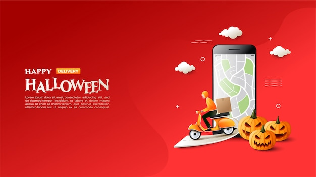 Banner of halloween sale with an illustration of sending goods using a motorbike.
