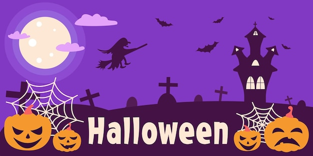 Banner for halloween with pumpkins, bats and a witch on a purple background in a flat style