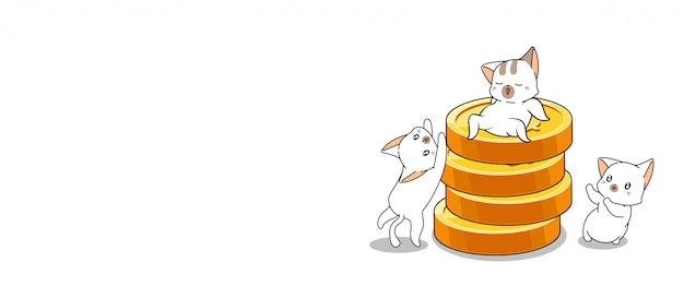 Banner hand drawn 3 cute cats are enjoying with coins