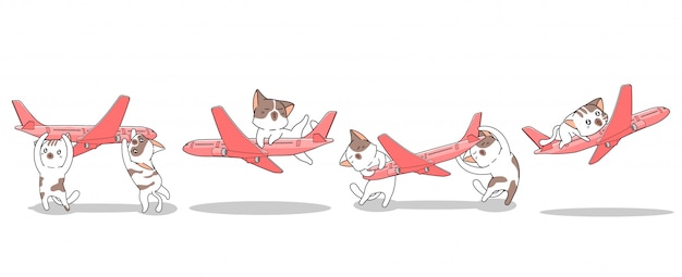 Banner hand drawn kawaii cats are playing the plane