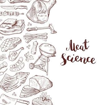 Banner hand drawn meat elements with lettering